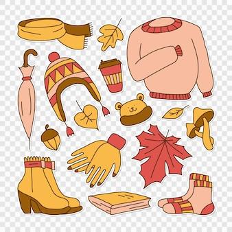 Set von illustrationen, die den kindlichen stil der hellen karikatur des herbstes symbolisieren