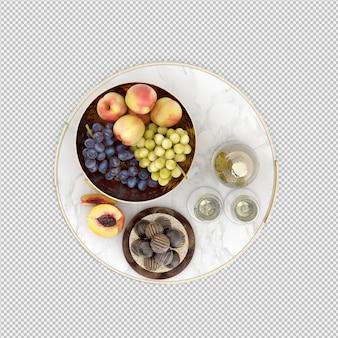 Shampange mit früchten und süßigkeiten