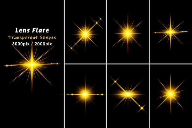 Shining golden lens flares realistisches isolat Premium PSD