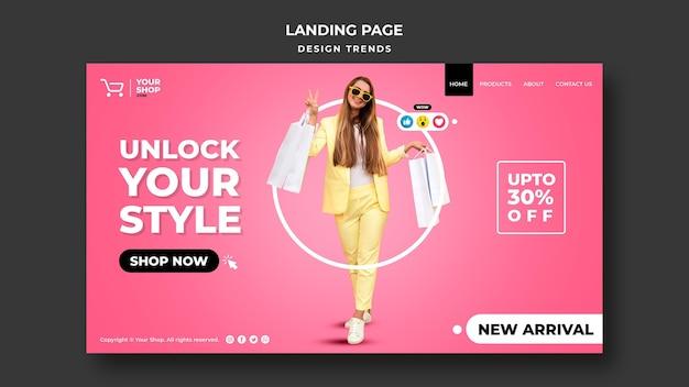 Shopping frau landingpage vorlage