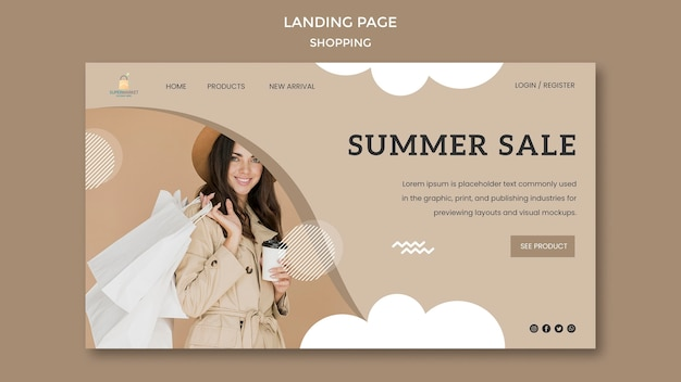 Shopping summer sale landing page
