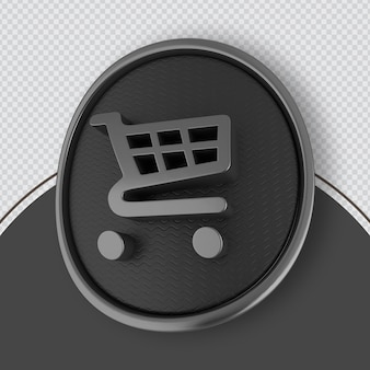 Shopping-symbol schwarz 3d-rendering