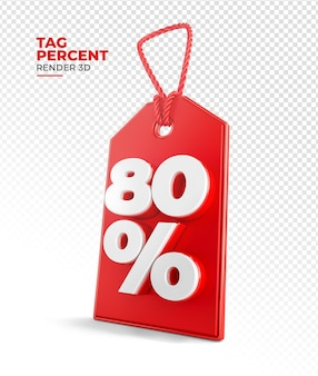 Shopping tag rendern 3d 80 prozent