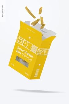 Short pasta box mockup, falling