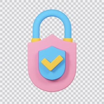 Sicherheitssymbol isoliert auf weißem 3d-gerenderten bild