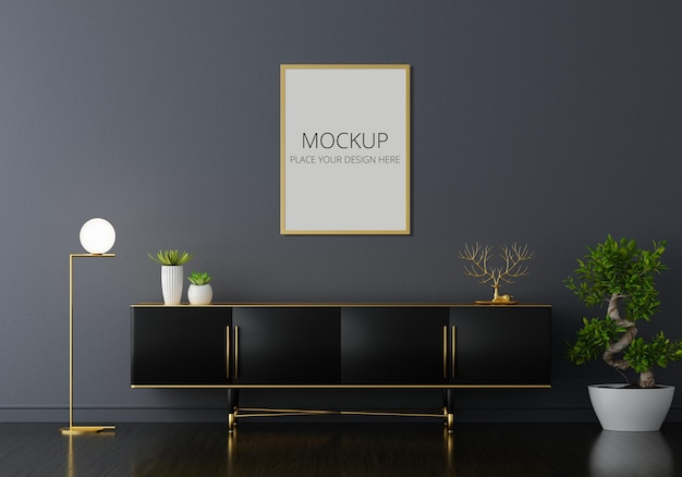 Sideboard im schwarzen wohnzimmer mit rahmenmodell
