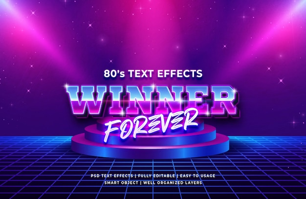 Sieger für immer achtzigerjahre retro- texteffekt