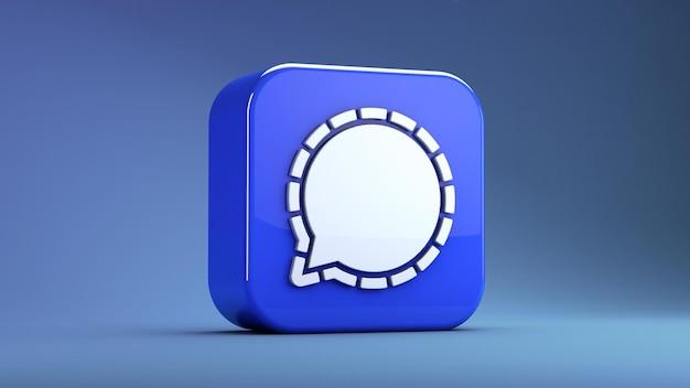 Signal messenger app symbol isoliert auf einem blauen hintergrund in 3d-rendering