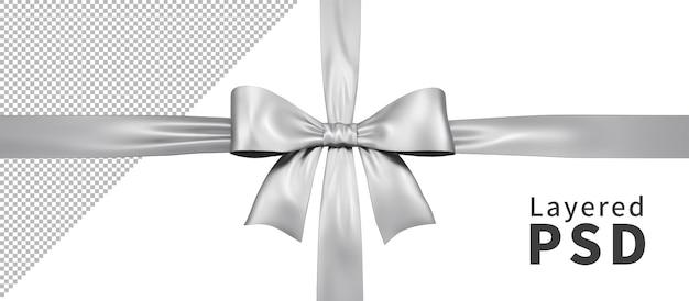 Silber satin geschenkband schleife isoliert