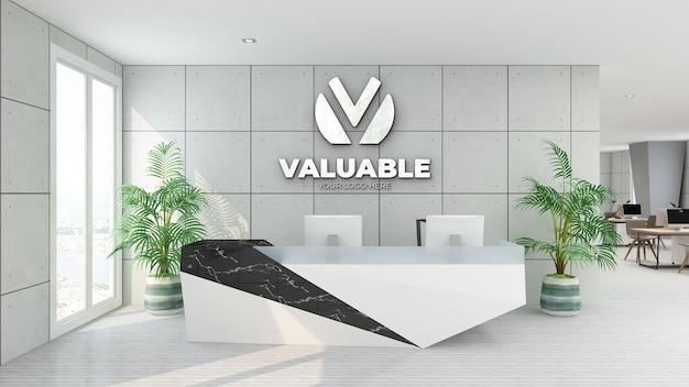 Silberes logo-modellbüro mit industriellem innendesign im empfangsraum
