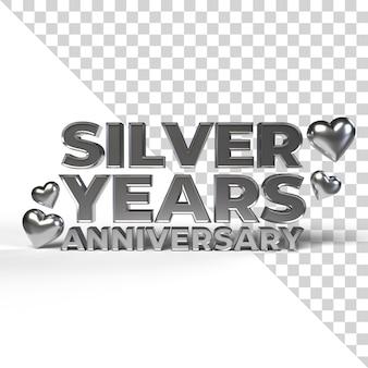 Silberjahre jubiläum für valentinstag und romantische jahreszeit 3d rendern