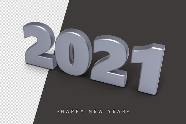 Silberne farbe 3d 2021 neujahrstexteffekt
