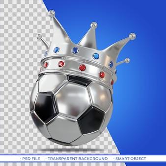 Silberne krone auf fußballkonzept von win im fußballsport