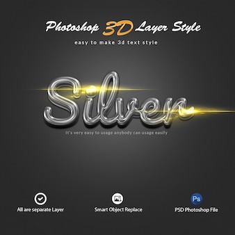 Silberne photoshop-ebenenstil-texteffekte in 3d