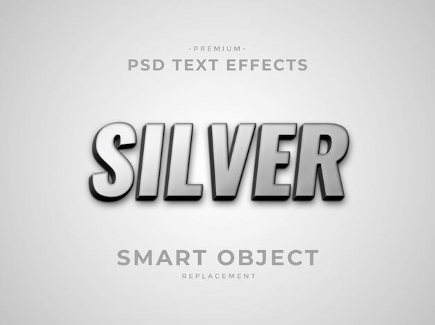 Silberne texteffekte der photoshop-ebene 3d