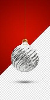 Silberne weihnachtskugel 3d render isoliert