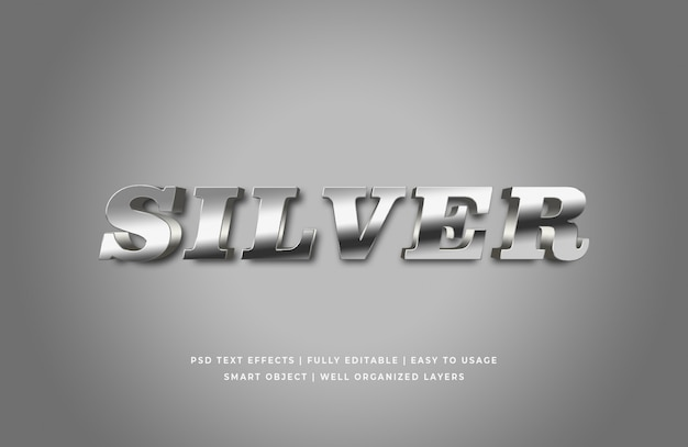 Silberner arteffekt des textes 3d