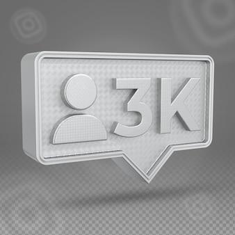 Silbernes instagram 3k-follower-3d-symbol