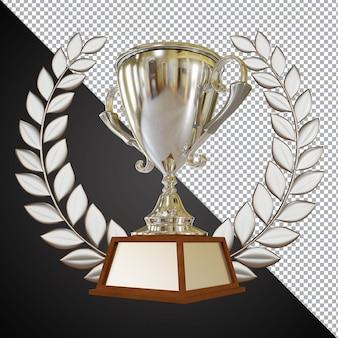 Silver award trophy cup 3d-zusammensetzung isoliert