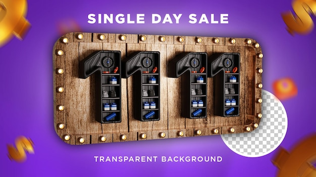 Single day sale 11.11 3d design premium psd