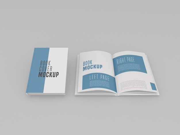Single hardcover mit open book mockup