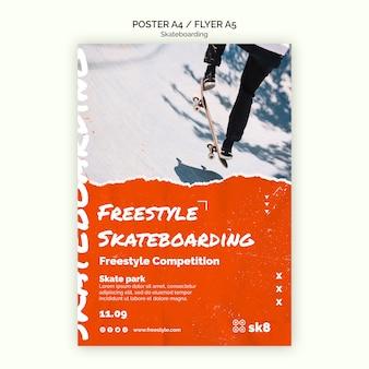 Skateboard konzept flyer vorlage
