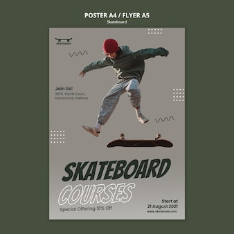 Skateboard lektion flyer vorlage