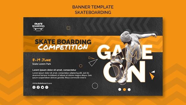 Skateboarding banner vorlage mit foto