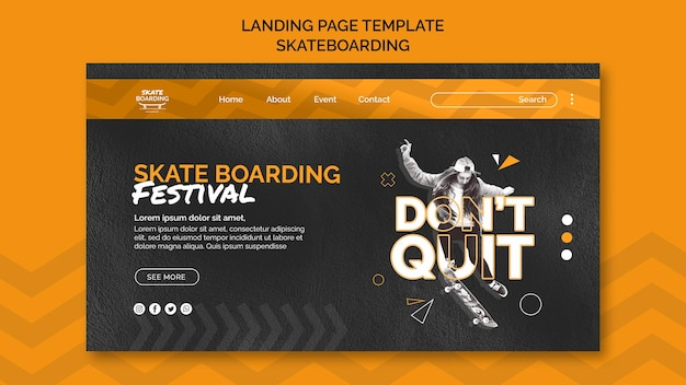 Skateboarding landingpage vorlage mit foto