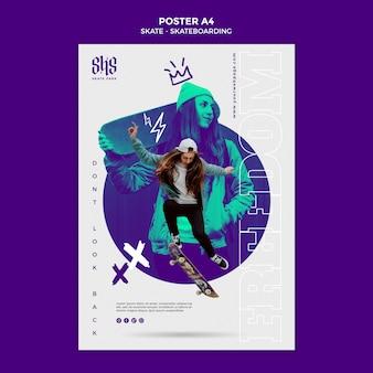 Skateboarding lifestyle poster vorlage