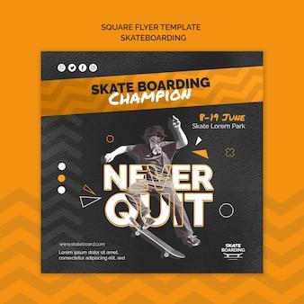 Skateboarding quadratische flyer vorlage mit foto Kostenlosen PSD