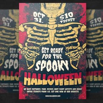 Skelett halloween party flyer vorlage