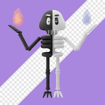 Skelett mit feuer und wasser in der hand 3d-darstellung