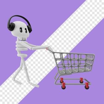 Skelett mit kopfhörereinkauf auf trolley 3d-darstellung