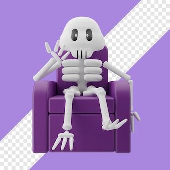 Skelett sitzt auf stuhl 3d-darstellung