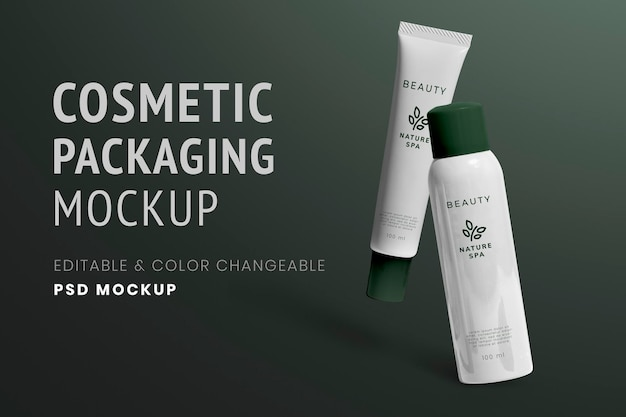 Skincare tube spray mockup psd für bio-beauty-marken
