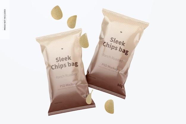 Sleek chips bags mockup, schwimmend