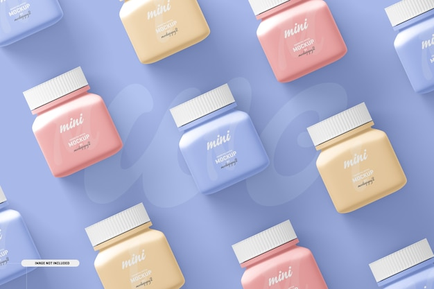 Small square pill supplement bottle mockup