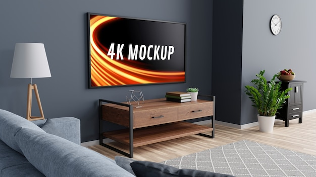 Smart-tv-modell auf dem schrank im modernen wohnzimmer in 3d-rendering