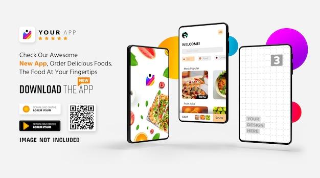Smartphone app promotion mockup logo und download-schaltflächen mit scan-qr-code