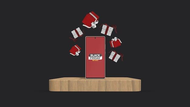 Smartphone auf podium mockup mit schwebender 3d gerenderter geschenkbox