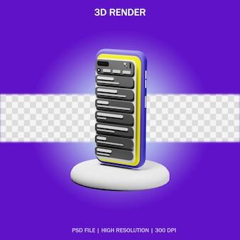Smartphone auf ständer mit transparentem hintergrund im 3d-design