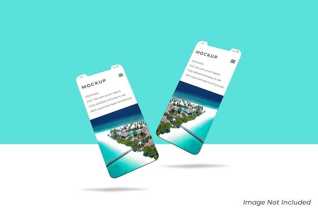 Smartphone-bildschirm für ui ux app-präsentationsmodell