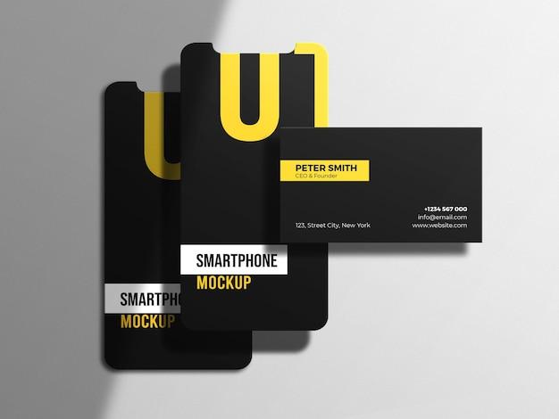 Smartphone-bildschirm mit dunklem hintergrund des visitenkartenmodells