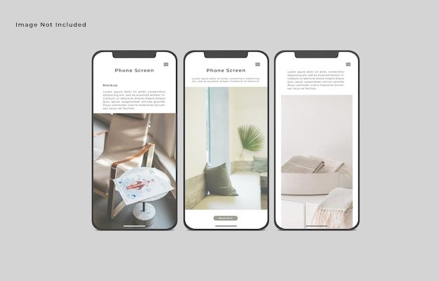 Smartphone-bildschirm modell isolierte vorderwinkelansicht