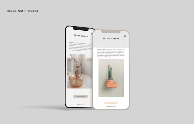 Smartphone-bildschirm modell vorderwinkelansicht