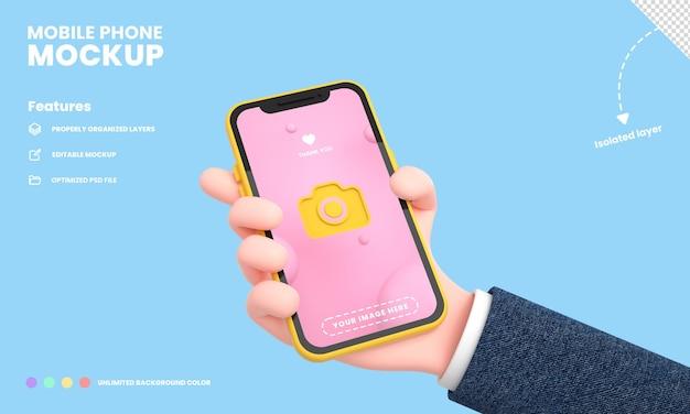Smartphone-bildschirm oder handy-pro-modell isoliert mit hand, die die telefonposition 3d-rendering hält