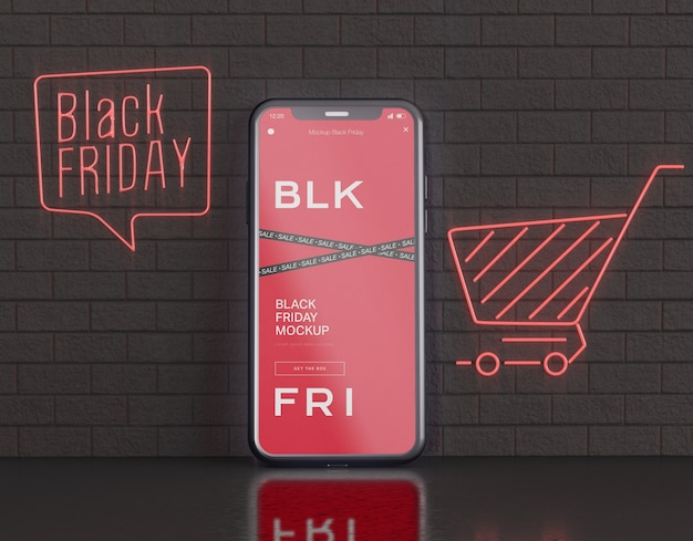 Smartphone-bildschirmmodell. black friday konzept