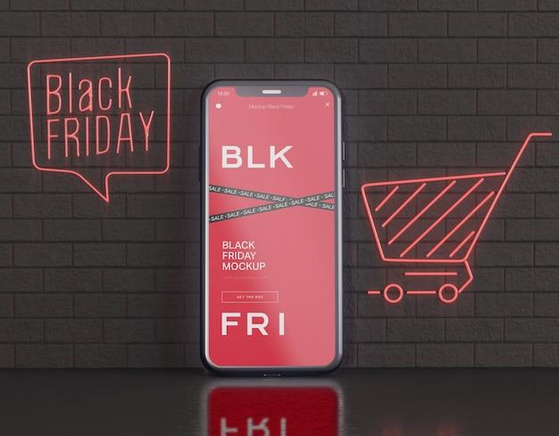 Smartphone-bildschirmmodell. black friday konzept