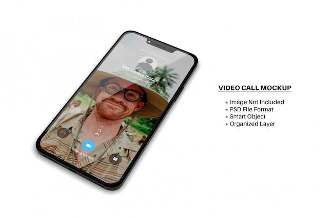 Smartphone-bildschirmmodell mit eingehendem videoanruf